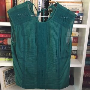 J. Crew Teal Green Cotton Crochet Pleated Blouse